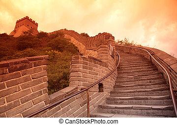 grande, china, pared, beijing, puesta de sol