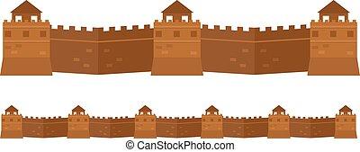 grande, chino, pared, arquitectura vieja, famoso,...
