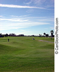 grande, cielo blu, golf