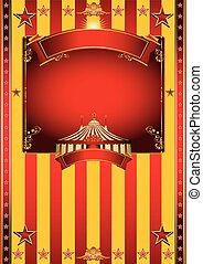 grande, circo, amarela, cartaz