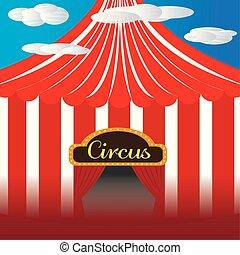 grande, circo, cima, illustration.
