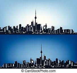 grande, city..eps, dois, contornos