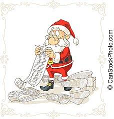 grande, claus, wishlist, presentes, vetorial, santa, leitura, caricatura