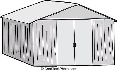 grande, cobertizo, almacenamiento