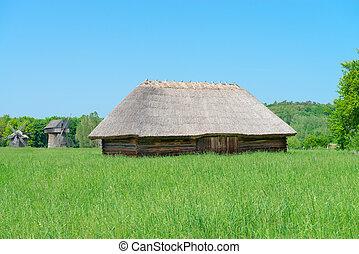 grande, cobertizo, antiguo, típico, aldea