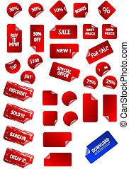 grande, cobrança, de, vetorial, pegajoso, preço, etiquetas,...