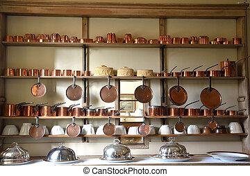 grande, cobre, cantidad, cookware
