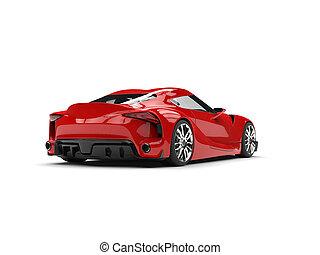 grande, coche, moderno, -, espalda, profundo, deportes, súper, rojo, vista