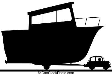 grande, coche, poco, silueta, barco