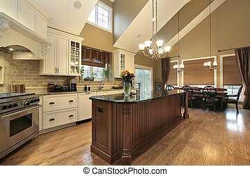 grande, cocina, en, casa luxury