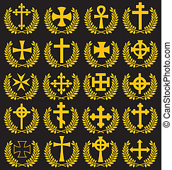 grande, colección, aislado, cruces