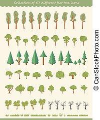 grande, colección, de, árbol, ilustraciones