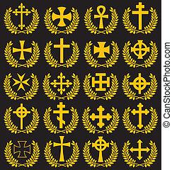 grande, colección, de, aislado, cruces