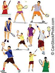 grande, colección, de, jugador del tenis, sil