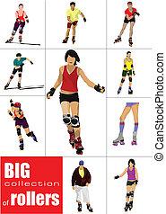 grande, colección, de, patinador de rodillo, si