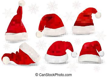 grande, colección, de, rojo, santa, sombreros