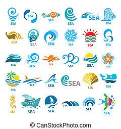 grande, colección, de, vector, logotipos, mar