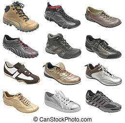 grande, colección, de, zapatos del deporte