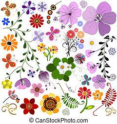 grande, colección, flores, y, butterf