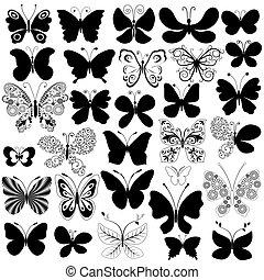 grande, colección, negro, mariposas
