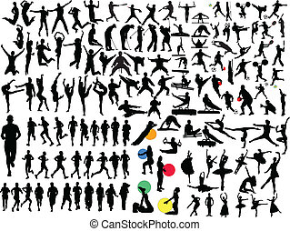 grande, collezione, di, differente, sport