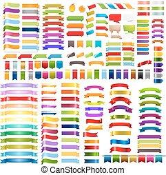 grande, colorito, nastri, set