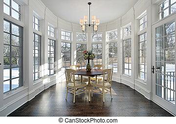 grande, comendo área, com, parede, de, janelas