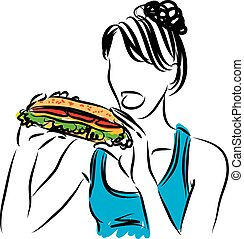 grande, comer mulher, sanduíche