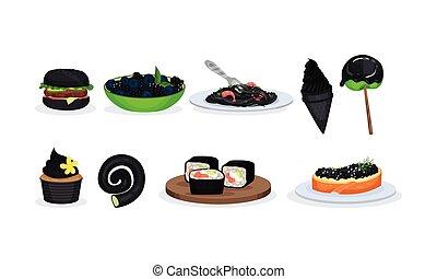 grande, comidas, conjunto, negro, componentes, bocados, ...