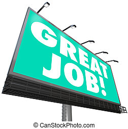 grande, compliments, palavras, apreciação, trabalho, elogio, billboard