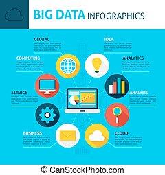 grande, concepto, datos,  infographics