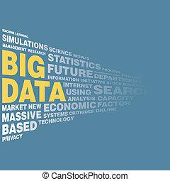 grande, concepto, datos, palabra, etiqueta