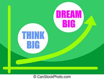 grande, concepto, sueño, pensar, grande