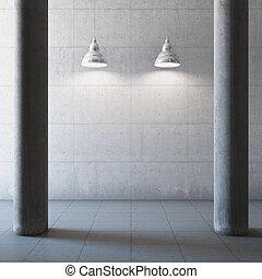 grande, concreto, corredor, vazio