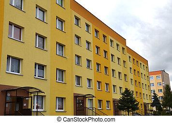grande, condominio, apartamento, block., rascacielos, edificio, house.