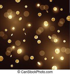 grande, confetti, brilhar, ouro