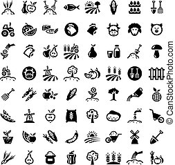 grande, conjunto, agricultura, iconos
