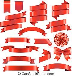 grande, conjunto, cintas, rojo