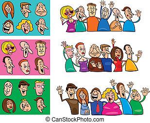 grande, conjunto, de, feliz, gente