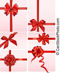 grande, conjunto, de, rojo, regalo, arcos