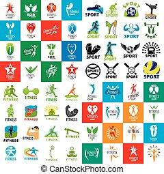 grande, conjunto, de, vector, logotipos, de, deportes y aptitud