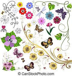 grande, conjunto, flores, y, mariposas