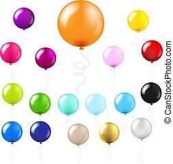 grande, conjunto, globos