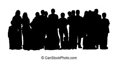 grande, conjunto, grupo, gente, 1, siluetas