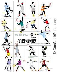 grande, conjunto, hombre, player., tenis, colo