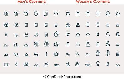 grande, conjunto, lineal, ropa