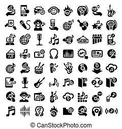 grande, conjunto, música, iconos