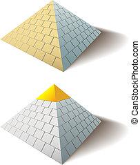 grande, conjunto, oro, egipcio, gorra, uno, pirámide, ...