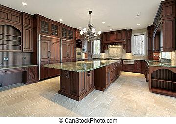 grande, construção lar, cozinha, novo
