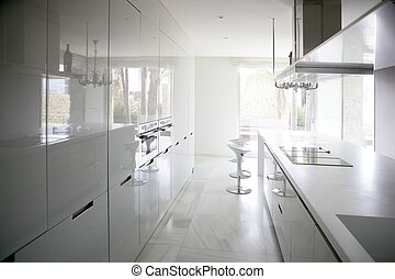 grande, contemporáneo moderno, blanco, cocina